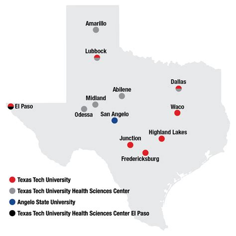 texas colleges and universities map cuses academic texas tech university system