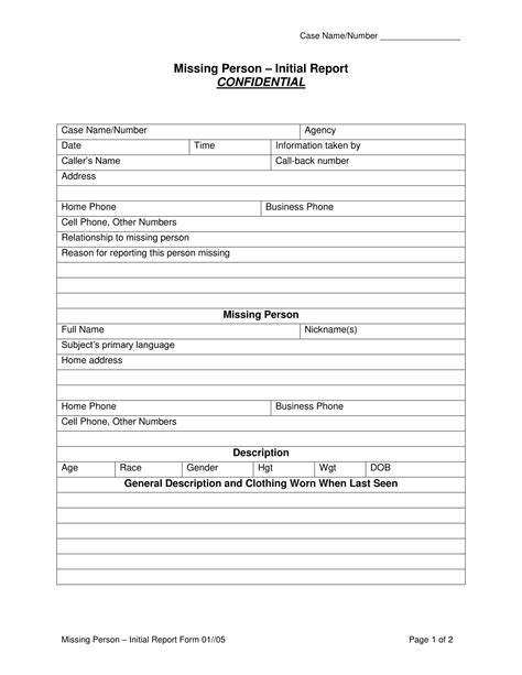 person report template 14 missing report forms free word pdf format