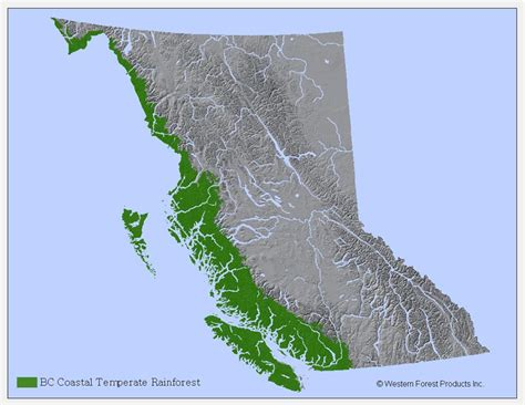 rainforest map map of rainforests in canada