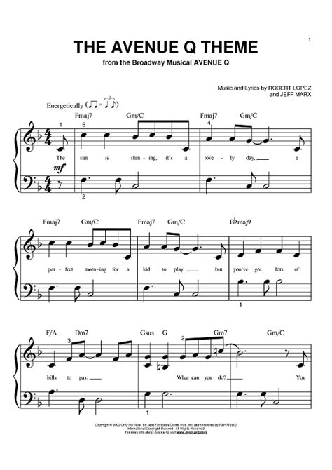 theme music for q the avenue q theme sheet music music for piano and more