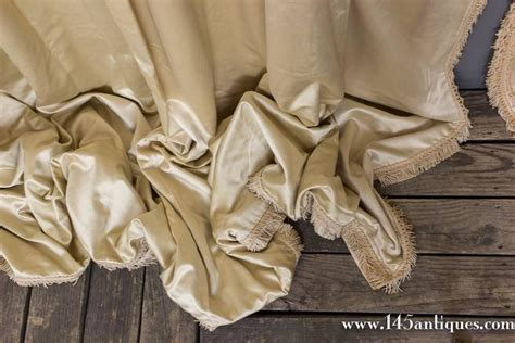 antique satin draperies very large pair of vintage french beige satin drapes with