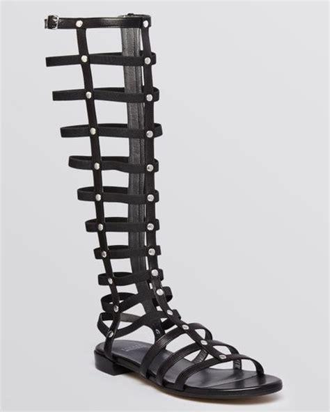 black high gladiator sandals stuart weitzman knee high sandals gladiator in black lyst