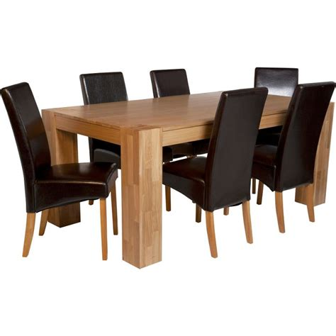 Homebase Dining Table And Chairs Alston Oak Dining Table And 6 Chocolate Chairs