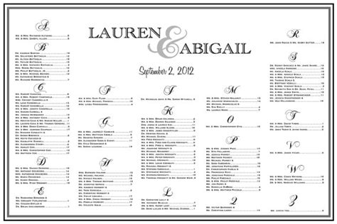 Wedding Seating List Template items similar to wedding seating chart table assignments reception seating large seating