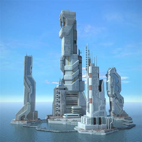 building concept 3ds max sci fi futuristic city vr themes pinterest
