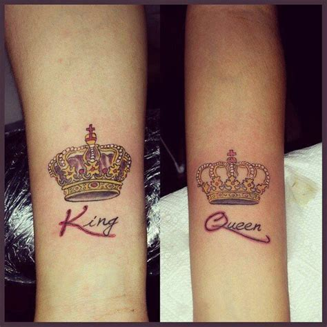 his and her crown tattoos his and king and crown tattoos on inner arms