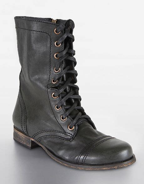 Steve Madden Troopa Boots by Steve Madden Troopa Lace Up Boots In Black Black Leather Lyst