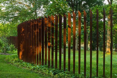 cor ten cattails sculptural fence contemporary landscape philadelphia by archer