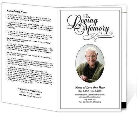 program for memorial service template printable funeral programs simple funeral program with