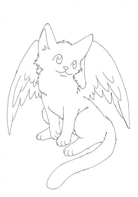 winged cat coloring page free winged kitty lineart by aconite pawlove on deviantart