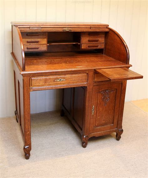 solid oak desk solid oak roll top desk antiques atlas
