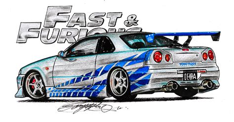 nissan skyline drawing 2 fast 2 furious my drawing nissan skyline r34 from fast and furious