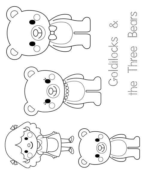 three bears coloring page goldilocks and the three bears mask templates sketch