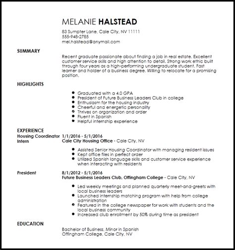 Cover Letter Apartment Leasing Newspaper Intern Resume