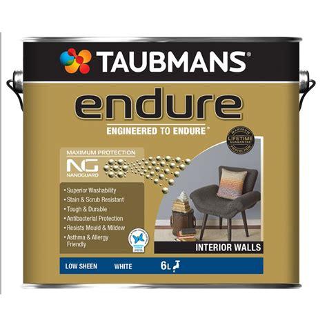 taubmans interior paint taubmans endure 6l white interior low sheen paint