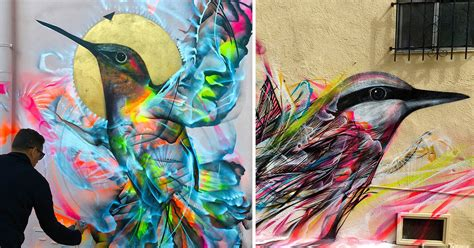 spray painter cairns figures of birds emerge from a kinetic flurry of spray