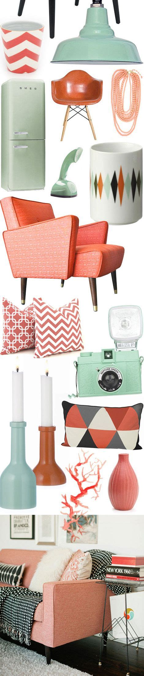 Mint And Coral Home Decor Vintage Inspired Living Room Ideas Color Of The Month On