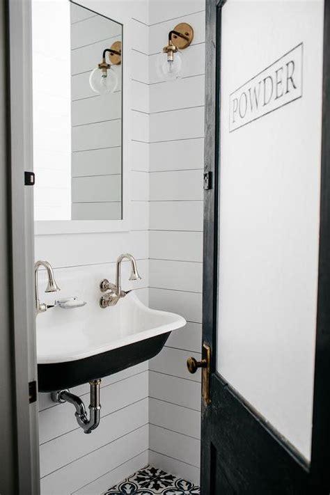 shiplap powder room walls design ideas
