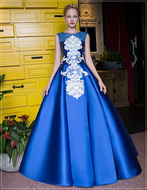 Dress Satin 002 sapphire blue satin sleeveless illusion prom boat neck