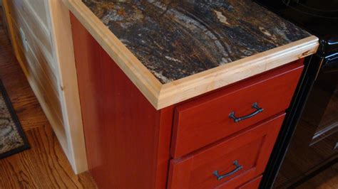 Kitchen Cupboard Edging Crafted Solid Cherry Stained Cabin Kitchen