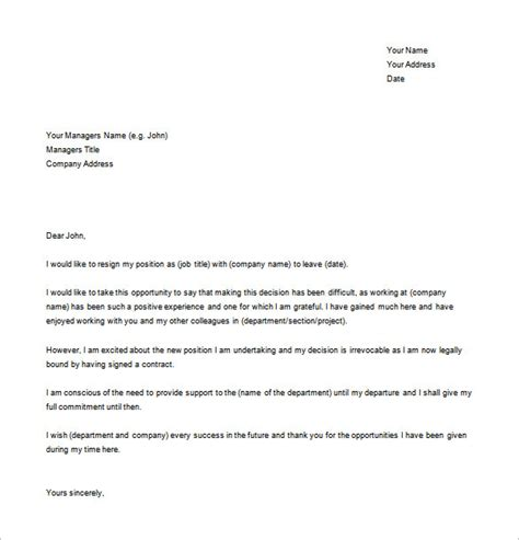 letter of resignation template word 17 resignation letter exles pdf doc free