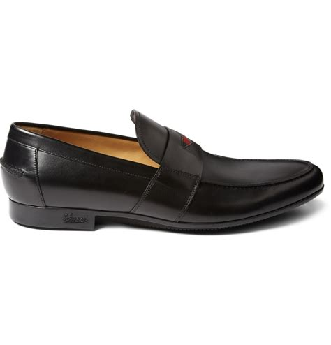gucci loafers black gucci black leather loafers with web detail in black for