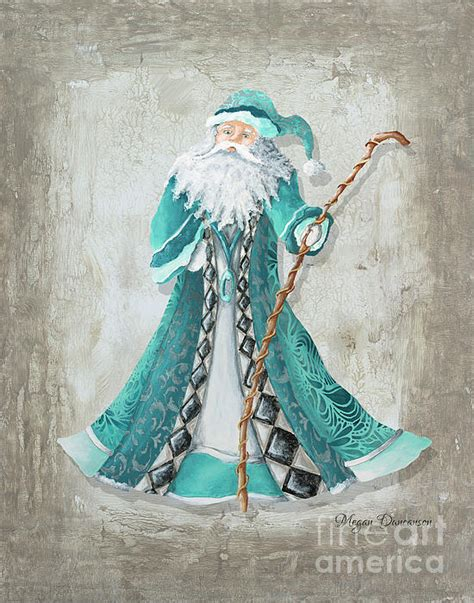 old world style turquoise aqua teal santa claus christmas