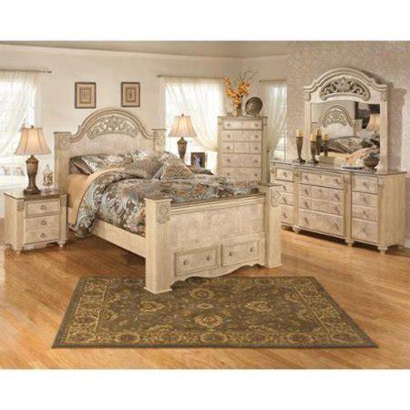 ashley saveaha  piece wood queen drawer bedroom set  beige walmartcom