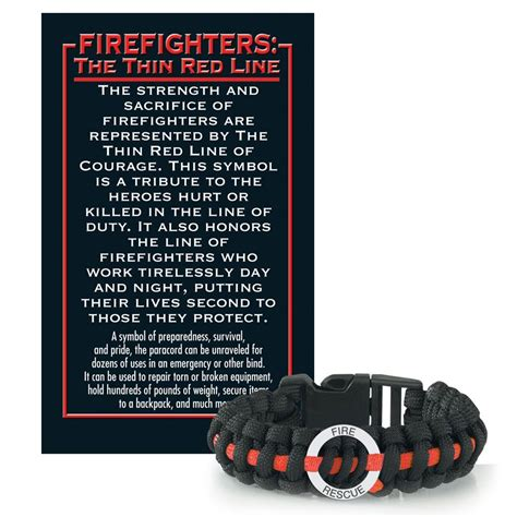 firefighters  thin red  paracord bracelet  card positive promotions