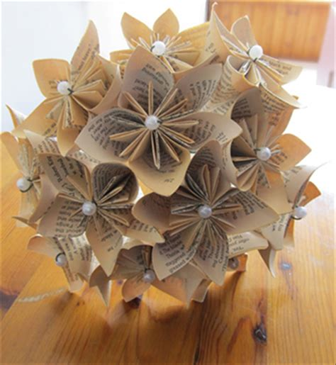 Origami Flowers Book - how to make a kusudama bouquet from folded book pages