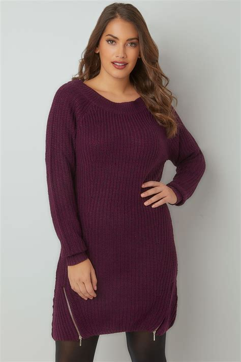 Fn Sweater Nots purple chunky knit tunic dress with zip hem plus size 16 to 36