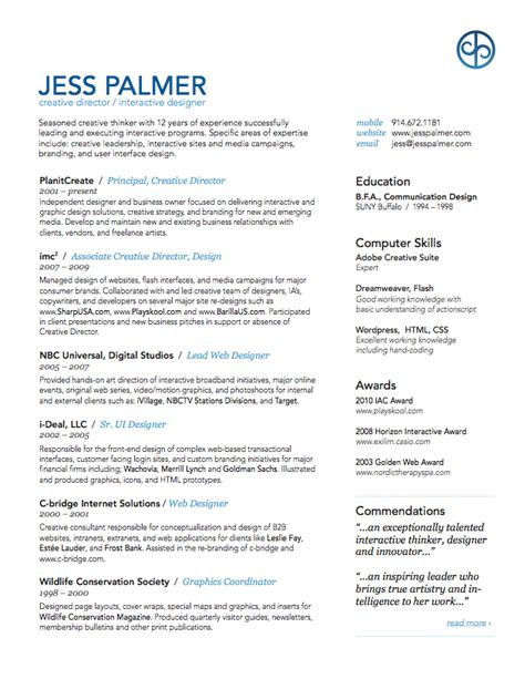 Resume Sles Creative Director Jess Palmer Creative Director Resume