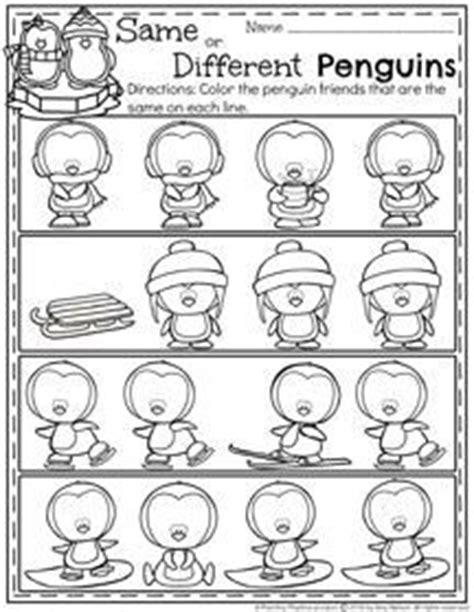 december preschool worksheets worksheets penguins and pre k math same and different worksheets little dots