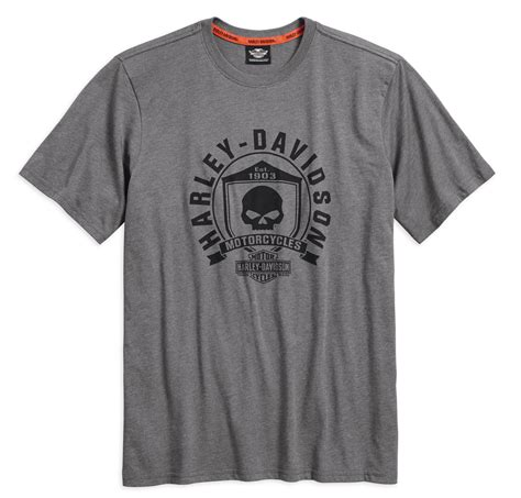 Harley Davidson Skull T Shirts by 99032 17vm Harley Davidson T Shirt Skull Shield Grey At