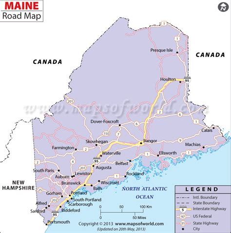 Shows the national highways and major roads in the us state of maine