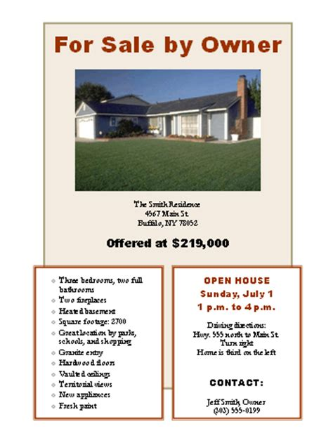 for sale by owner brochure template sign flip real estate newsletter receive el real