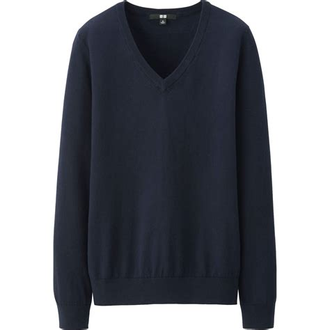 Uniqlo Sweater Navy uniqlo cotton v neck sweater in blue navy