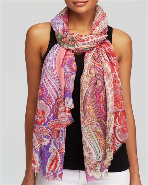 echo boho paisley scarf in purple magenta lyst