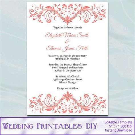 sle wedding invitation template free coral wedding invitation template diy printable bridal