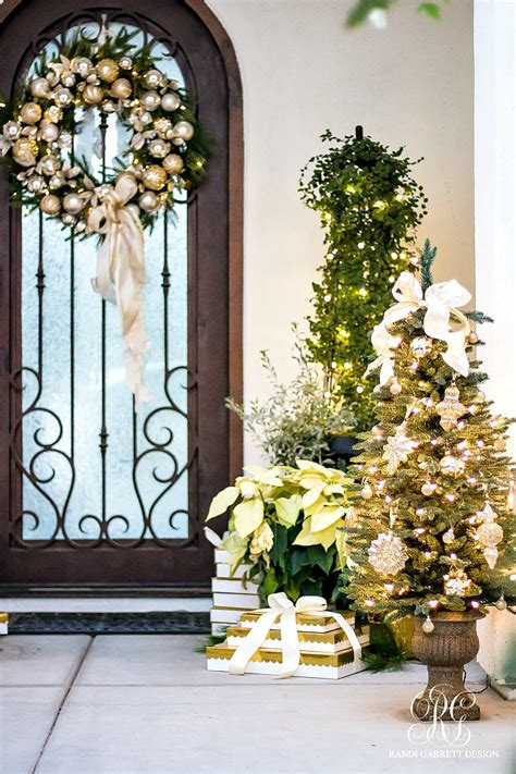 silver and gold christmas front porch randi garrett design