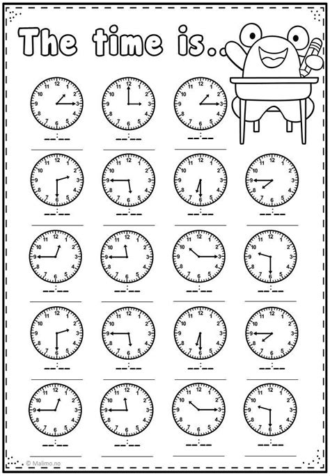 Telling Time Practice Page | printing | Clock worksheets