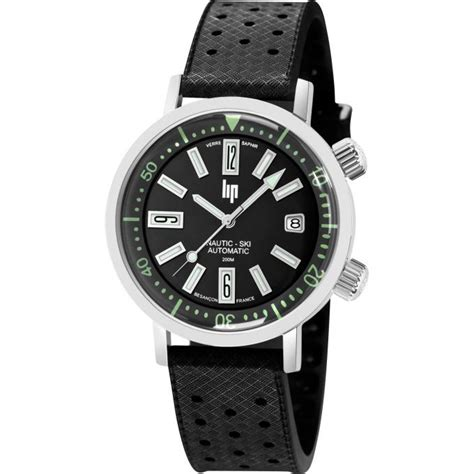 montre lip 671505 montre coffret nautic ski automatique saphir automatique cuir noir acier