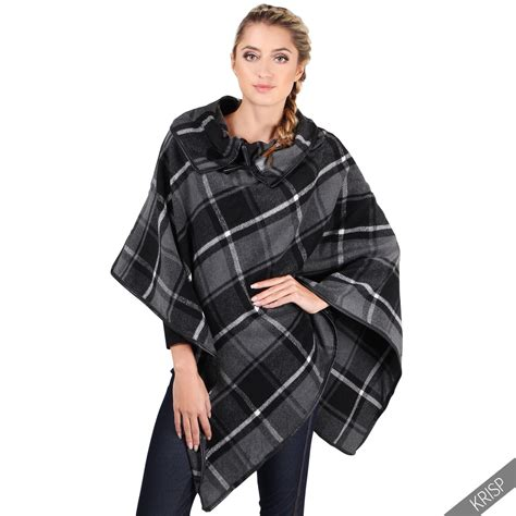 Plaid Woolen Cape Cardigan 15946 womens vintage tartan blanket check cape duffle
