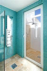 Indoor Outdoor Shower by Coastal Living House Bathroom Turquoise Tiles