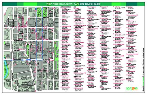 san jose downtown restaurants map dining in downtown san jose california map san jose ca