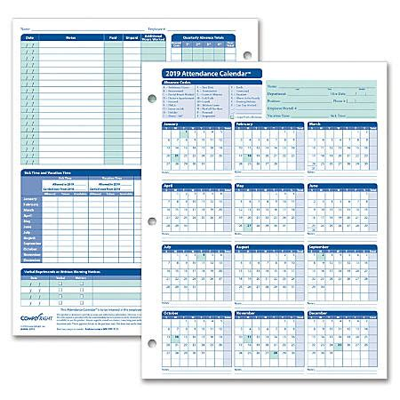 Complyright 2019 Attendance Calendar Cards 8 12 X 11 White Pack Of 25 By Office Depot Officemax 2018 Attendance Calendar 25 Pack