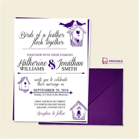 birds of a feather wedding invitation template wedding