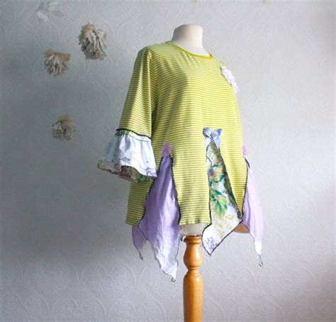 plus size tunic top 2x shabby chic clothing lime green purple upcycle