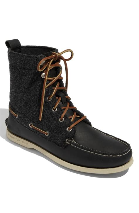 sperry boots sperry top sider 7 eye boot in black gray wool in black