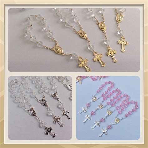 Baptism Giveaways - 24 mini rosaries approximately 4 long baptism favors